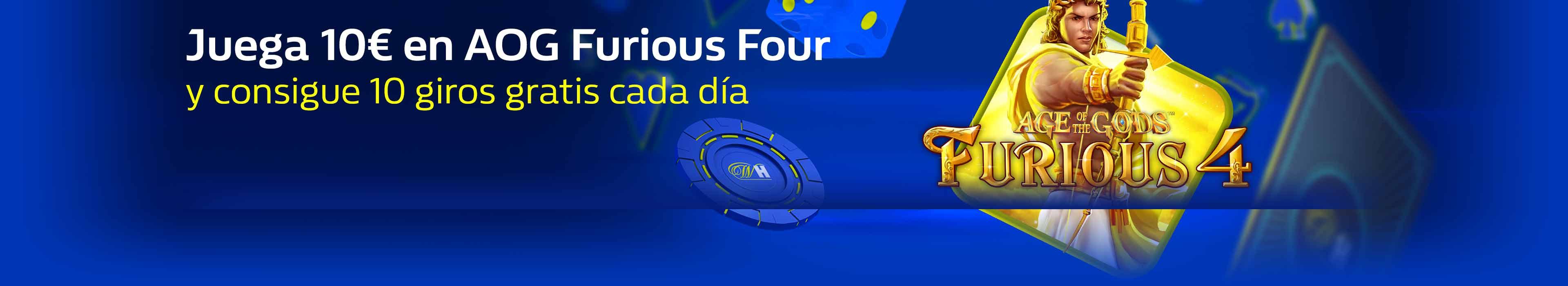 Consigue hasta 70 giros gratis jugando a AOG Furious Four.
