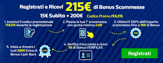 Bonus scommesse sportive 215 euro