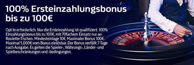 100% Ersteinzahlungsbonus bis zu 100€