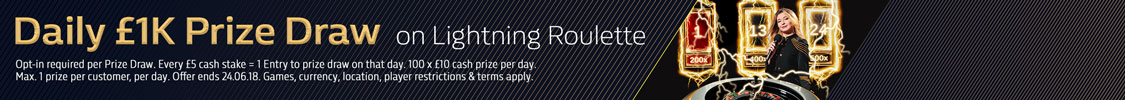 Daily £1K Prize Draw on Lightning Roulette